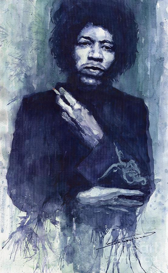 Watercolour Painting - Jimi Hendrix 01 by Yuriy  Shevchuk