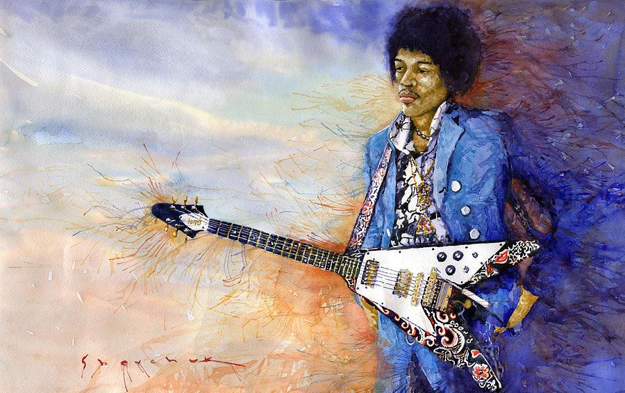 Watercolor Painting - Jimi Hendrix 10 by Yuriy Shevchuk