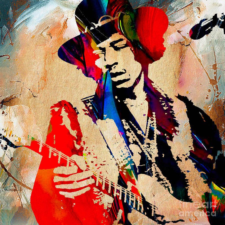 Jimi Hendrix Mixed Media - Jimi Hendrix Duvet Cover by Marvin Blaine
