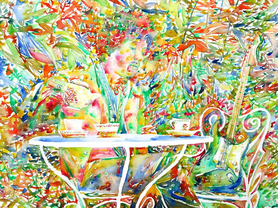 Jimi Painting - Jimi Hendrix Having Breakfast Portrait by Fabrizio Cassetta