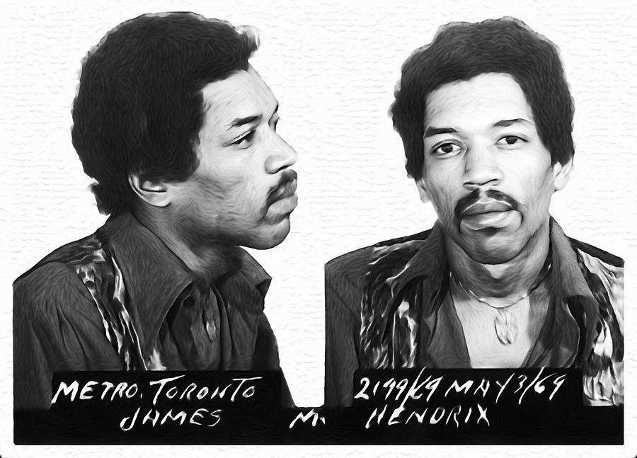 Jimi Photograph - Jimi Hendrix Mugshot Black And White by Bill Cannon