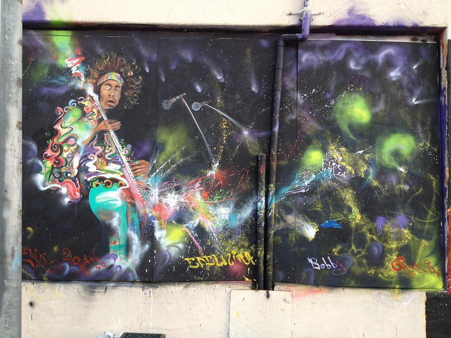 Rock Painting - Jimi Hendrix Mural by Erik Franco