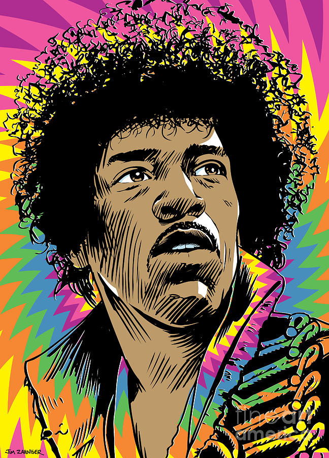 Print Digital Art - Jimi Hendrix Pop Art by Jim Zahniser