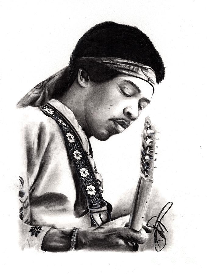 Jimi Hendrix Drawing - Jimi Hendrix by Rosalinda Markle