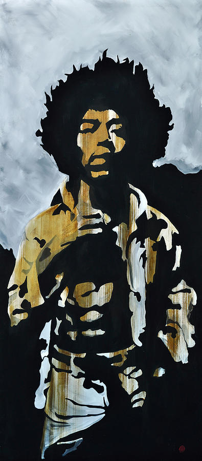 Jimi Hendrix Painting - Jimi Hendrix The Blues is easy to play but hard to Feel by Brad Jensen