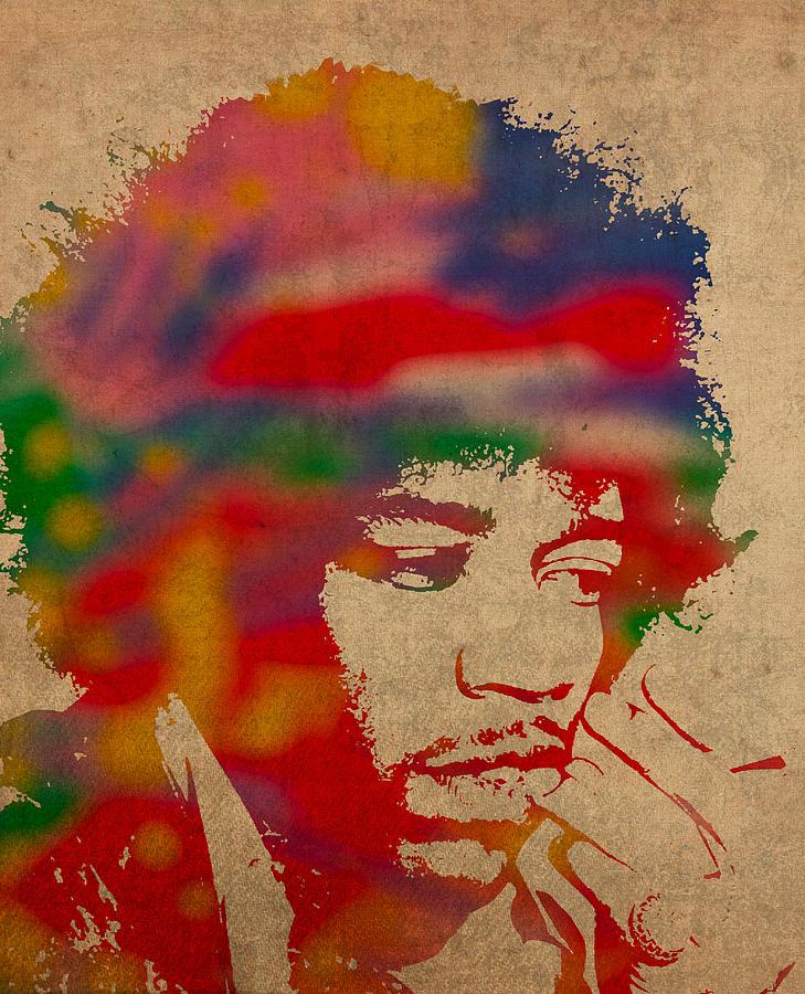 Jimi Mixed Media - Jimi Hendrix Watercolor Portrait on Worn Distressed Canvas by Design Turnpike