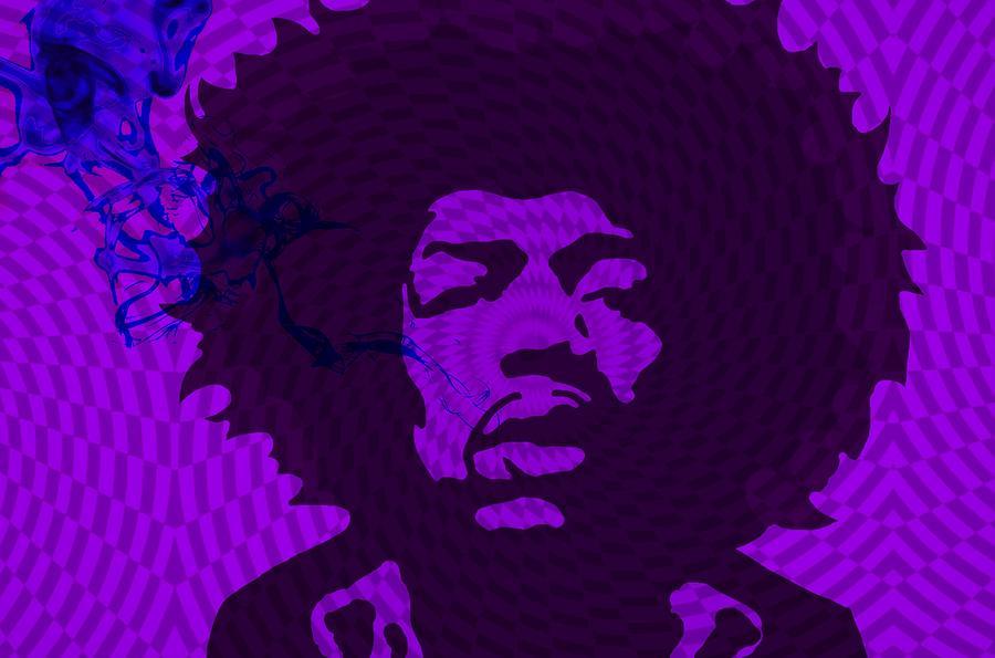Jimi Digital Art - Jimi in Purple by Cindy Edwards