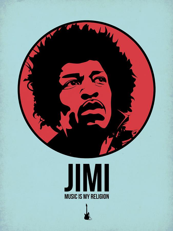 Music Digital Art - Jimi Poster 2 by Naxart Studio