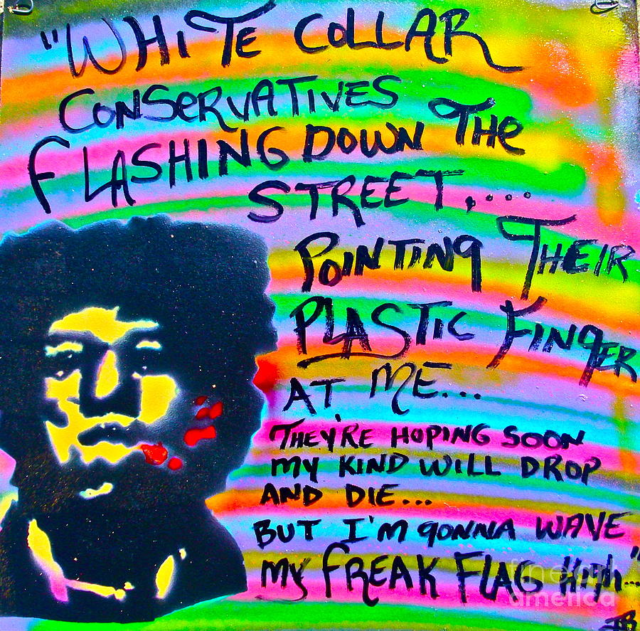 Jimi Hendrix Painting - Jimis Freak Flag by Tony B Conscious