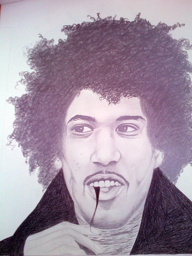 Scottish Artist Drawing - Jimmi Hendrix by Aileen Carruthers