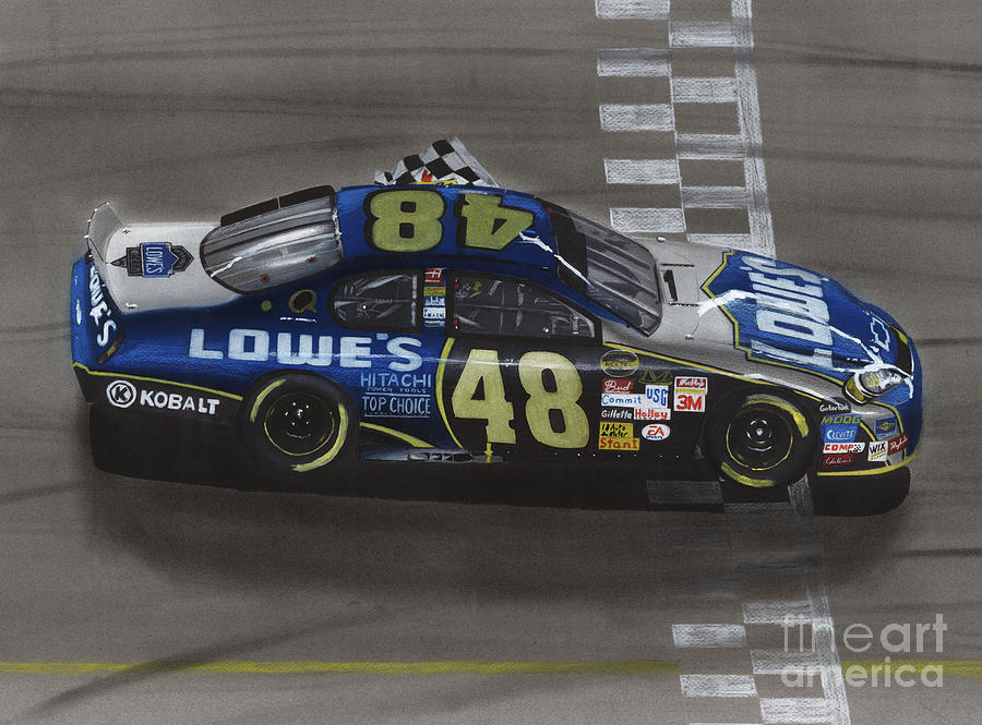 Car Drawing - Jimmie Johnson Wins by Paul Kuras