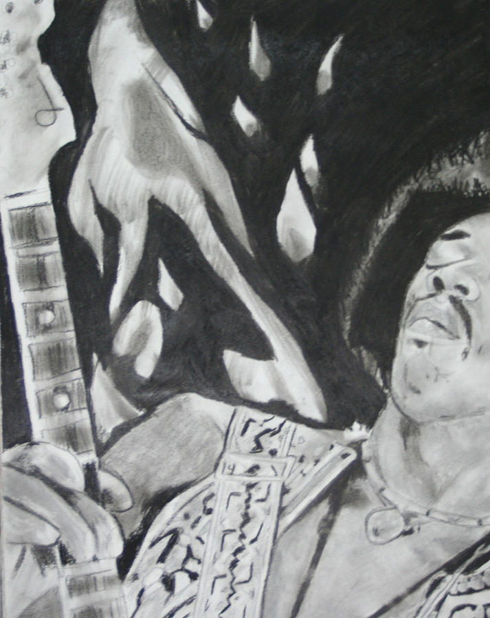 Rock Star Drawing - Jimmy Hendrix by Aaron Balderas