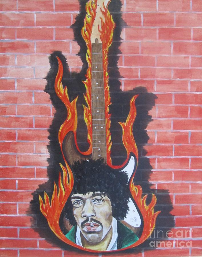 Jimmy Hendrix Painting - Jimmy Hendrix And Guitar by Jeepee Aero
