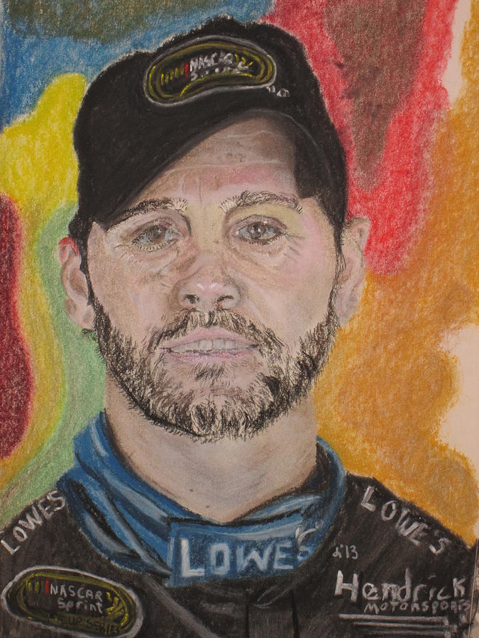 Jimmy Johnson Nascar Driver Pastel By John Brewer