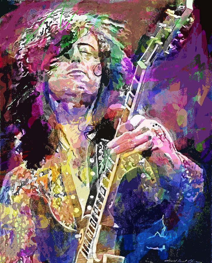 Jimmy Page Electric Painting By David Lloyd Glover