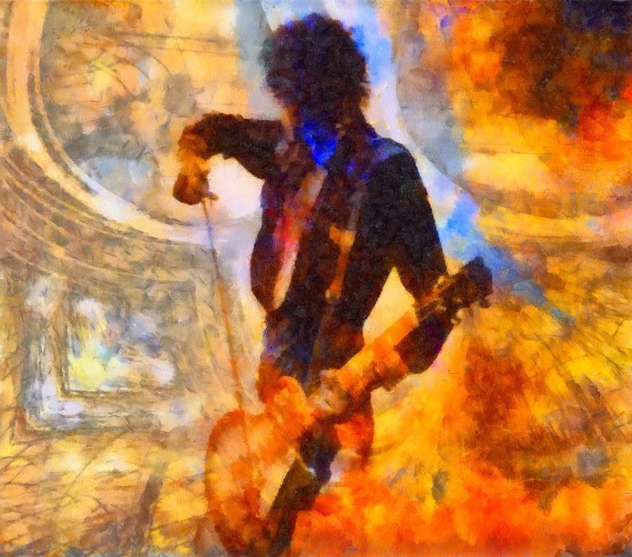 Jimmy Page Playing Guitar With Bow Painting