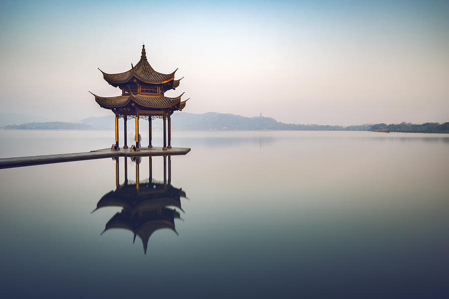 Jixian Pavilion on the West Lake Photograph by Weiyi Zhu