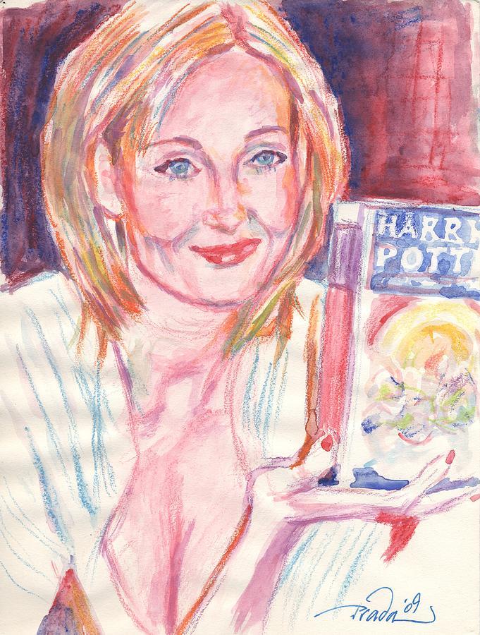 Watercolor Painting - Jk Rowling Happy by Horacio Prada