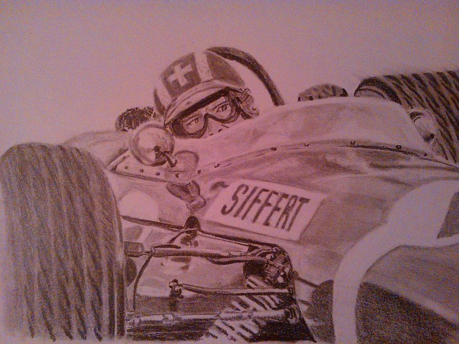 Formula One Drawing - Jo Siffert And His Brabham Bt11 by Juan Mendez