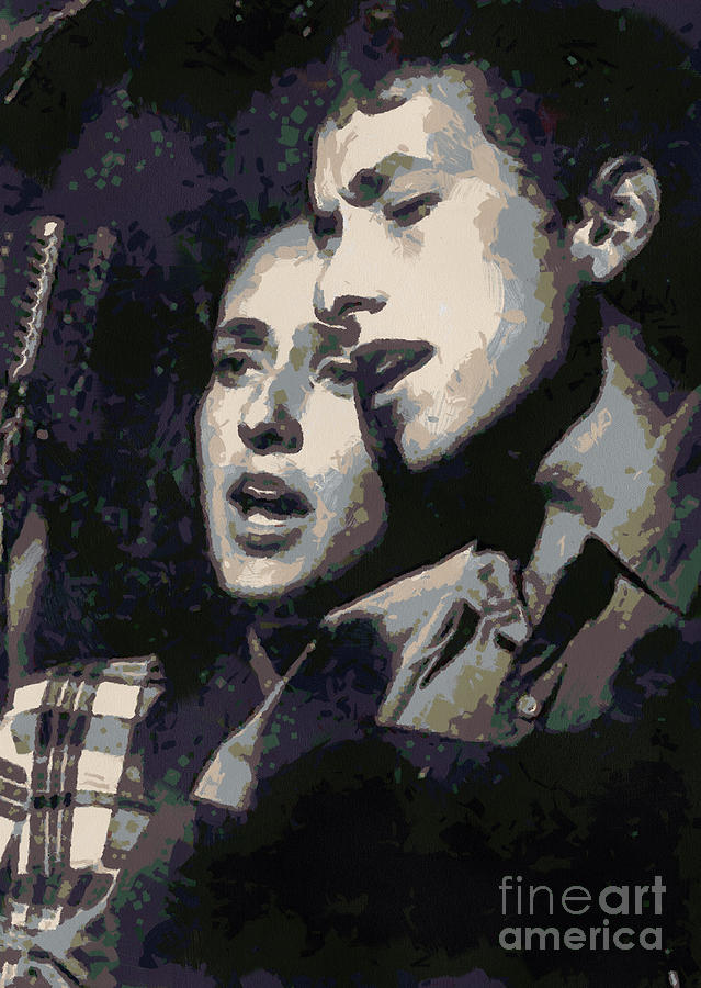 Joan Baez Digital Art - Joan Baez And Bob Dylan by Paulette B Wright