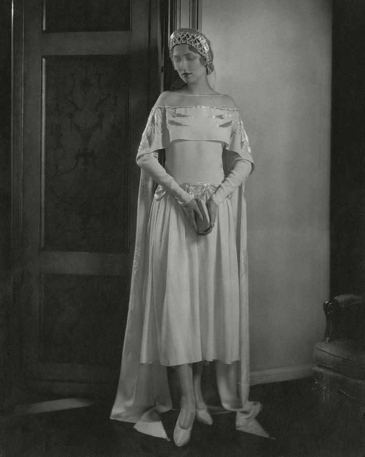 Joan Clement Wearing A Lanvin Wedding Dress Photograph by Edward Steichen
