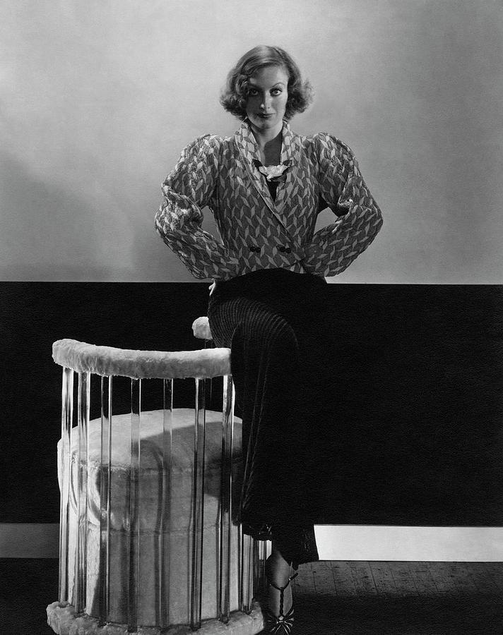 Joan Crawford Wearing A Schiaparelli Dress Photograph by Edward Steichen