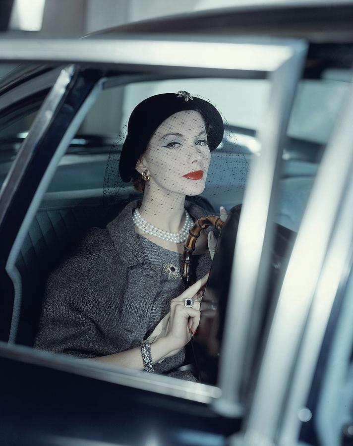 Joan Friedman In A Car Photograph by Clifford Coffin