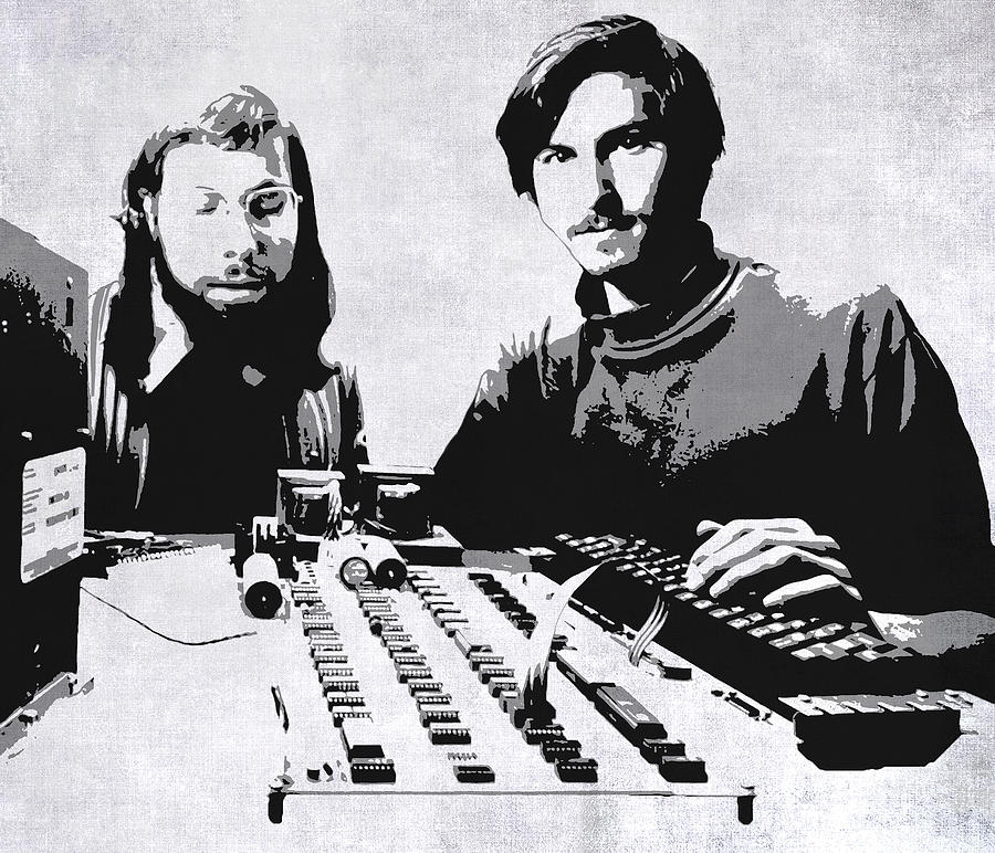 Apple Early Days : Jobs and wozniak in the early days digital art by