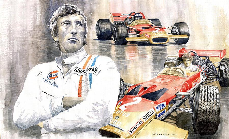 Watercolor Painting - Jochen Rindt Golden Leaf Team Lotus Lotus 49b Lotus 49c by Yuriy Shevchuk