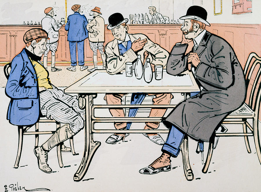 Illustrated Painting - Jockey And Trainers In The Bar by Thelem