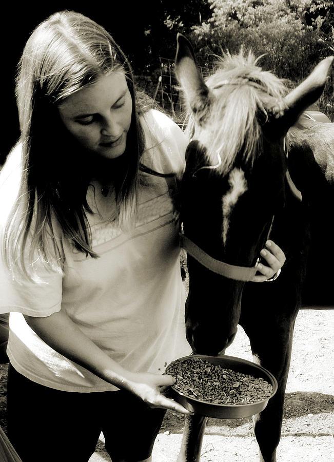 Feeding A Horse Photograph - Jodies Colt by Paulette Maffucci