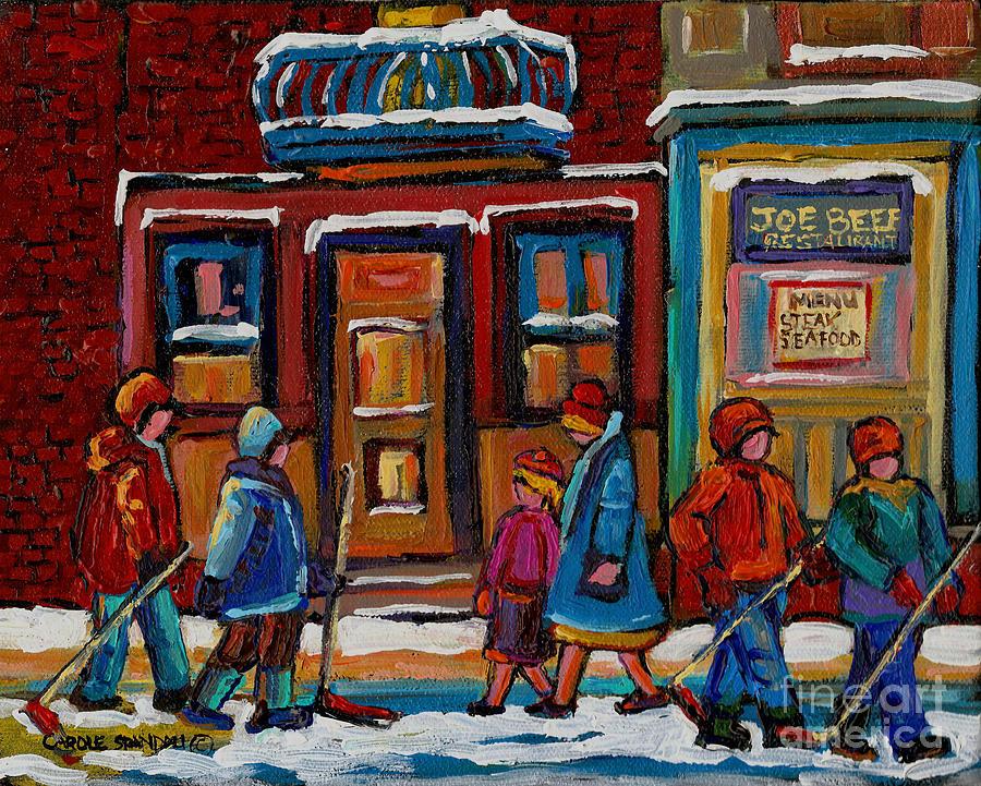 Hockey Painting - Joe Beef Restaurant And Boys With Hockey Sticks by Carole Spandau