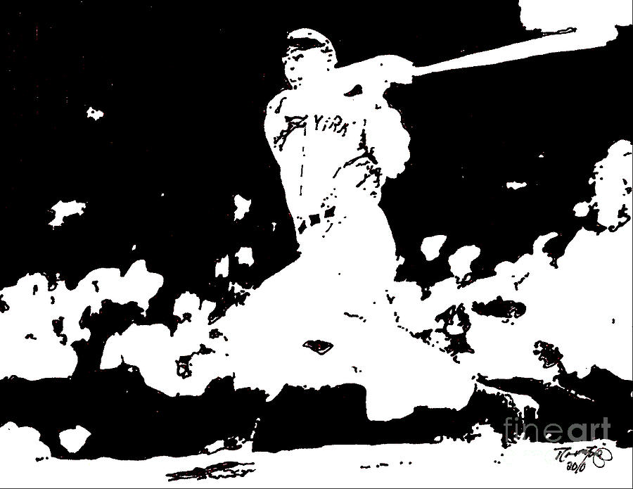 Joe Drawing - Joe DiMaggio drawing by Rob Monte