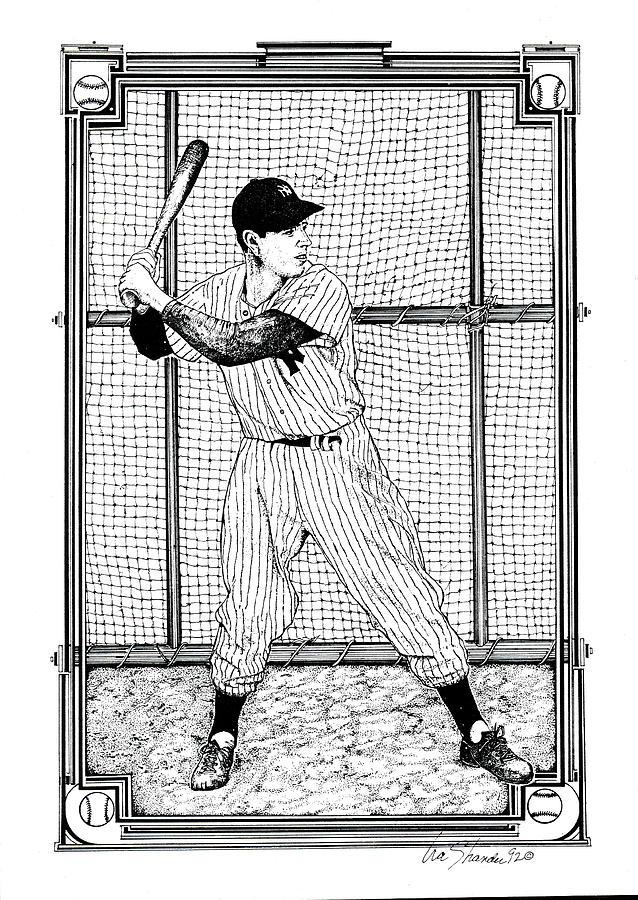 Baseball Stars Drawing - Joe DiMaggio  by Ira Shander