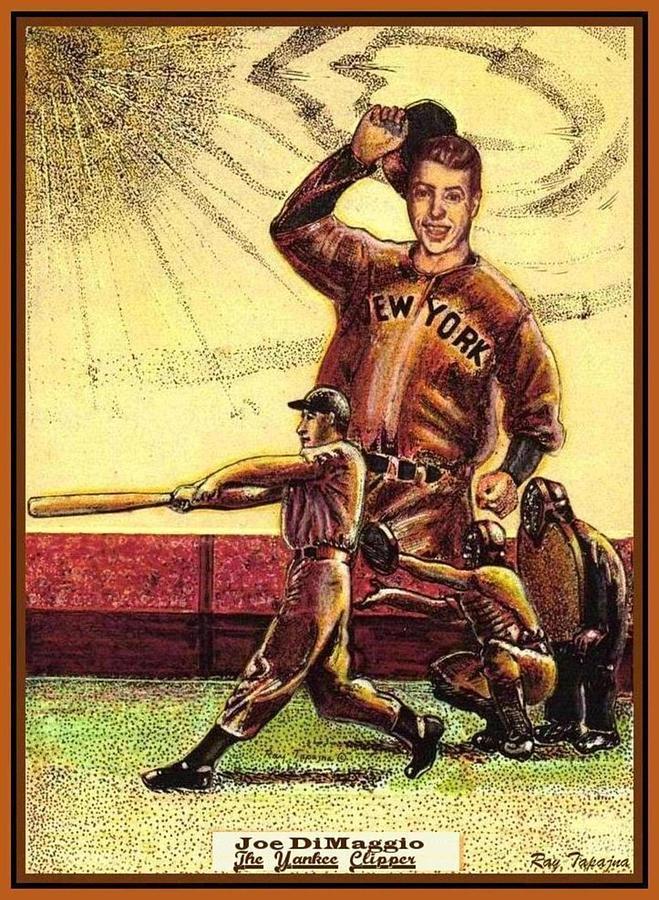 Joe Dimaggio Drawing - Joe Dimaggio Yankee Clipper by Ray Tapajna