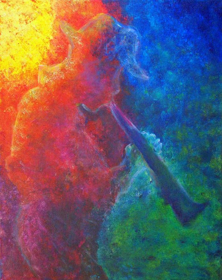 Music Painting - Joe Jazzes Into The Night by The Art With A Heart By Charlotte Phillips