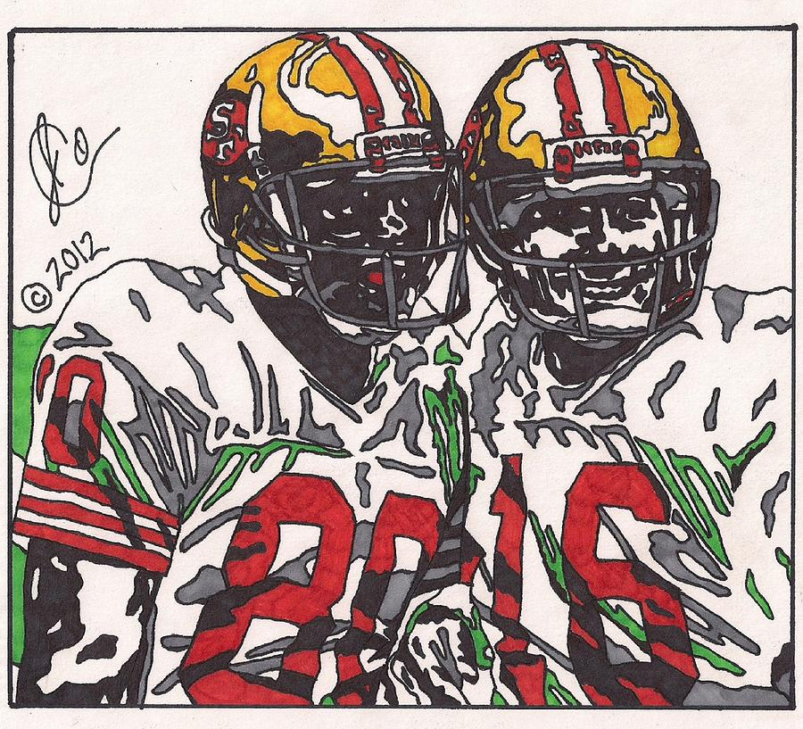 San Francisco 49ers Drawings Drawing - Joe Montana And Jerry Rice by Jeremiah Colley