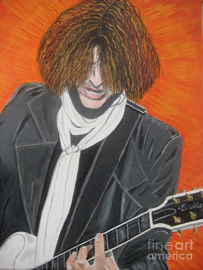 Joe Perry Painting Painting - Joe Perry On Guitar by Jeepee Aero