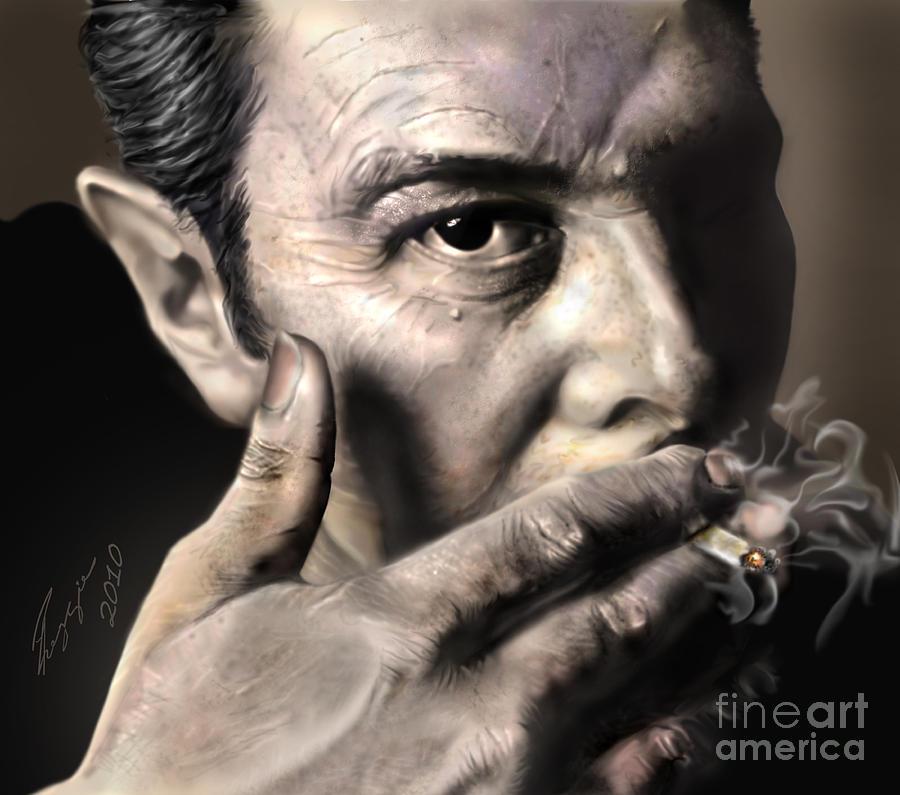 The Clash Painting - Joe Strummer-burning Lights by Reggie Duffie