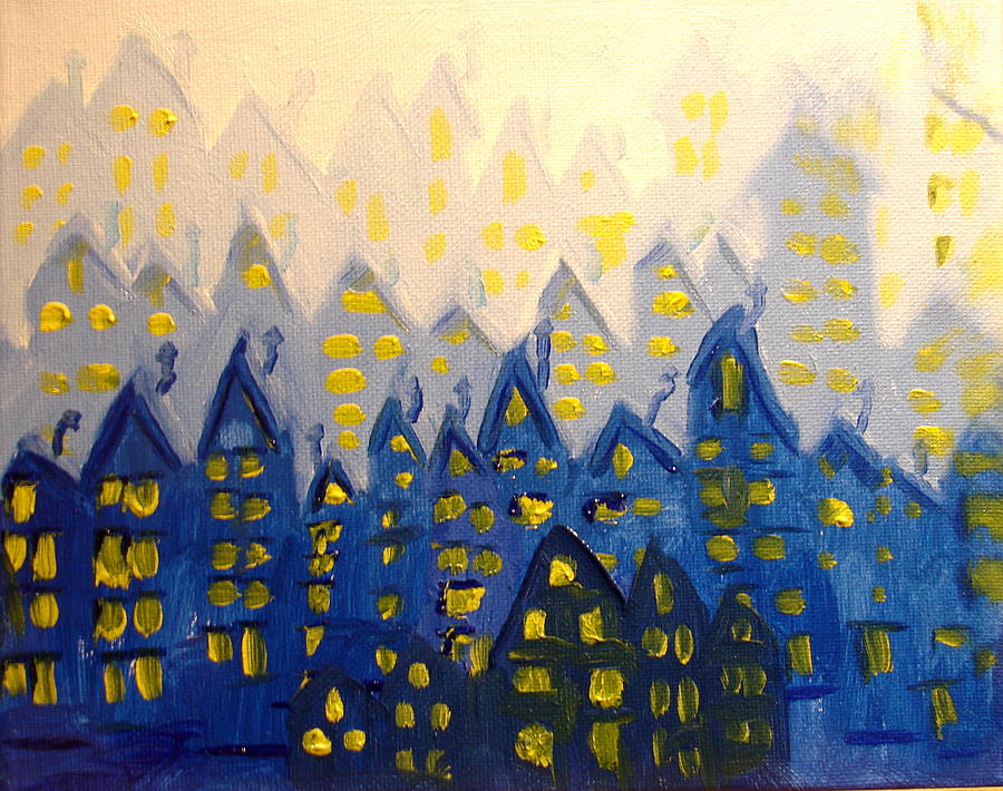 City Scape Painting - Joes Blue City by Joseph Hawkins