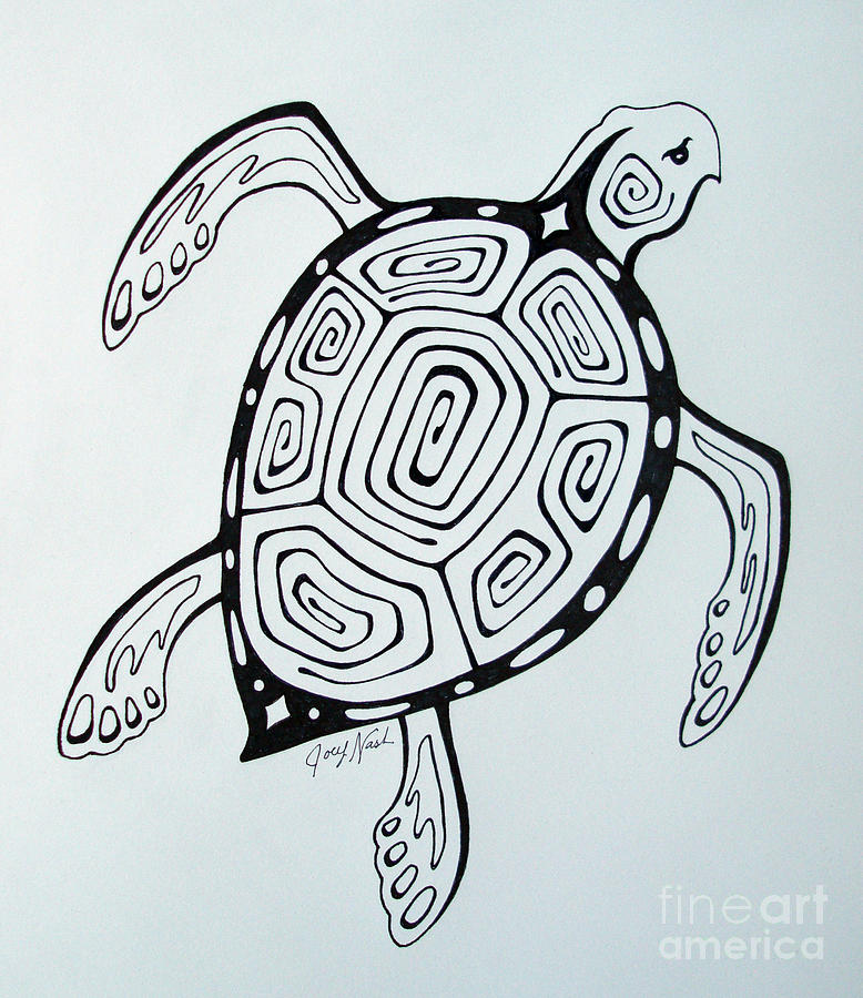 Joeys Sea Turtle Drawing by Joey Nash