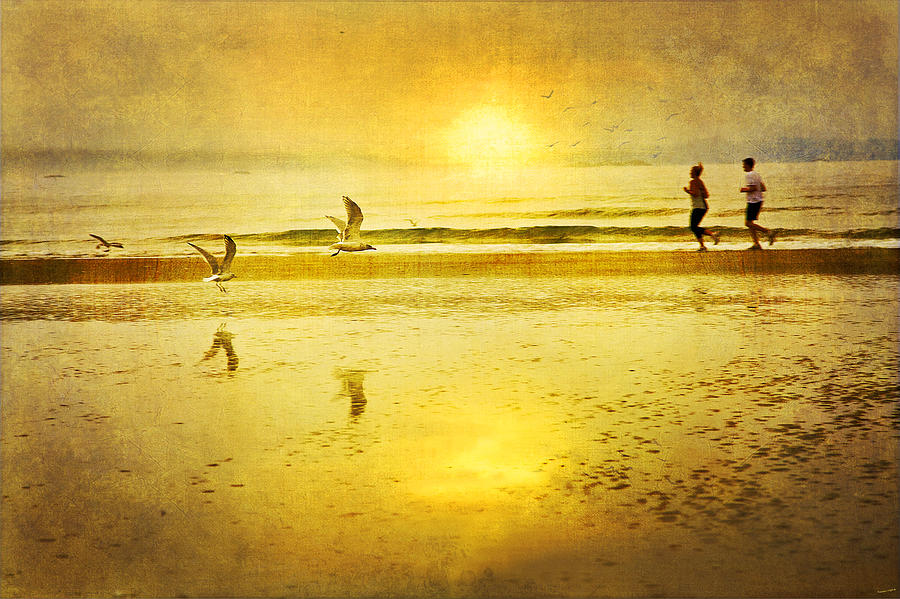 Beach Photograph - Jogging On Beach With Gulls by Theresa Tahara