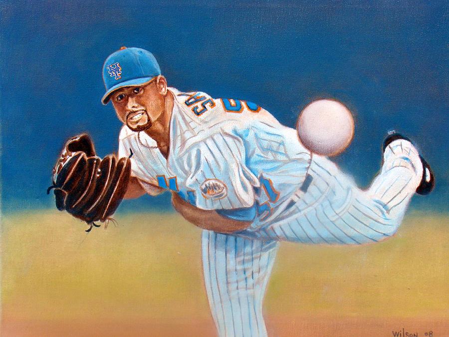 Baseball Painting - Johan Santana by John Kennedy Wilson