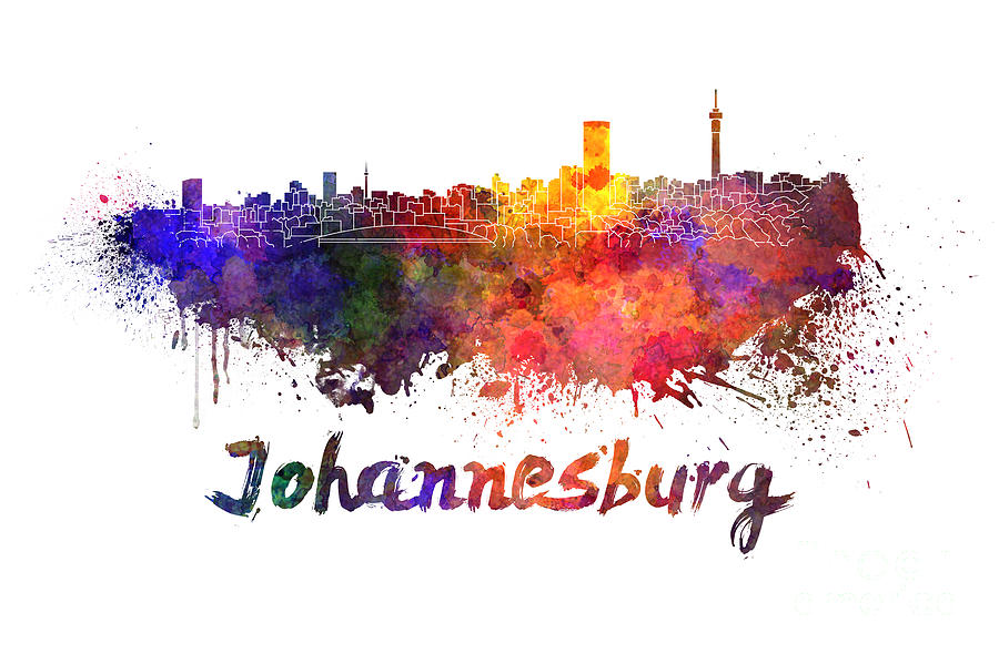 Johannesburg skyline in watercolor painting by pablo romero johannesburg painting johannesburg skyline in watercolor by pablo romero thecheapjerseys Images