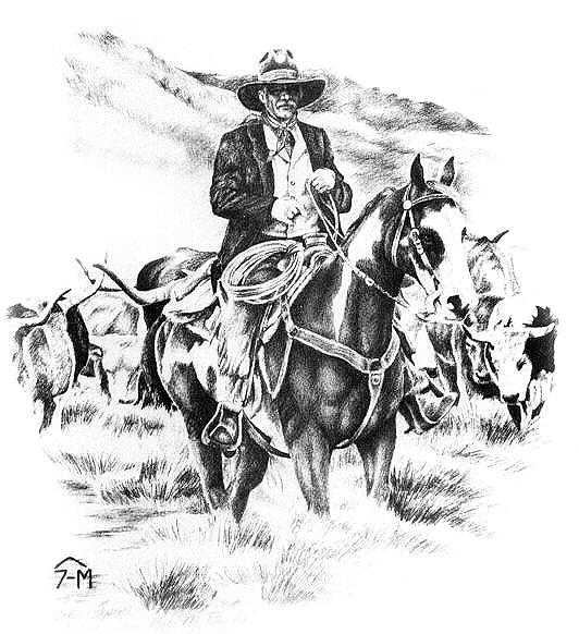 Western Drawing - John And Shorty by Jonni Hill