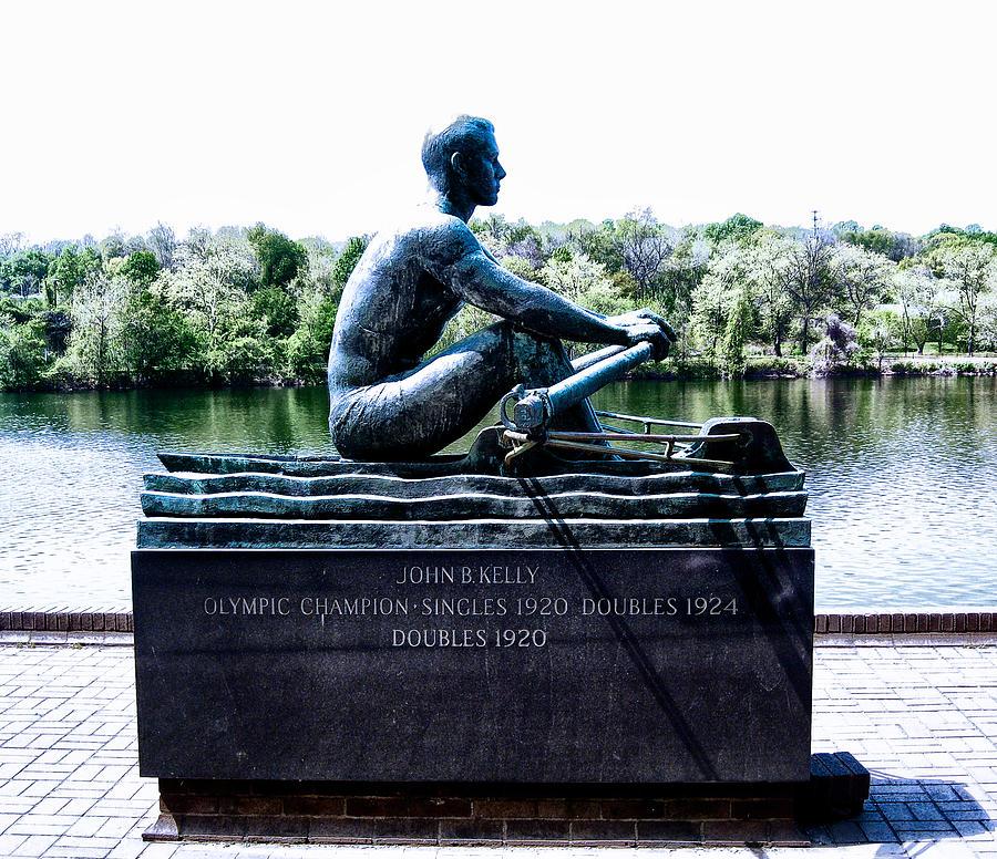 Statue Photograph - John B Kelly Statue Philadelphia by Bill Cannon