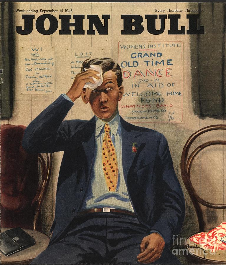 1940�s Drawing - John Bull 1946 1940s Uk Tired Exhausted by The Advertising Archives