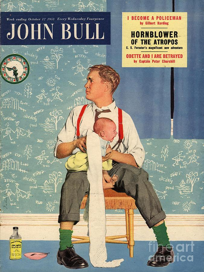 John Bull 1950s Uk Babies Fathers Drawing By The