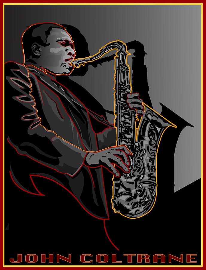 Celebrity Portrait Digital Art - John Coltrane Jazz Saxophone Legend by Larry Butterworth