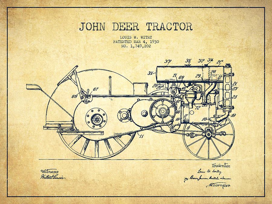 John Deer Tractor Patent Drawing From 1930 Vintage
